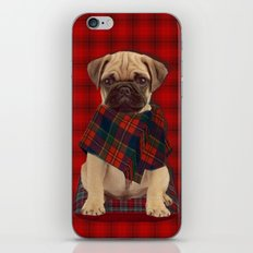 The Plaid Poncho'ed Pug iPhone & iPod Skin