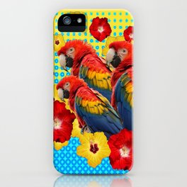 YELLOW-BLUE  FLORAL MACAWS & RED YELLOW HIBISCUS iPhone Case