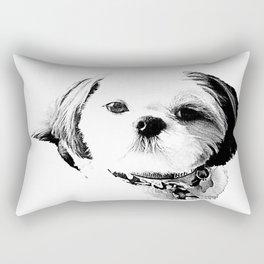 Shih Tzu In Black And White By Annie Zeno Rectangular Pillow