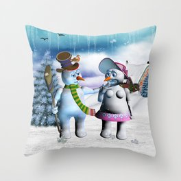 Funny, cute snowman and snow women Throw Pillow