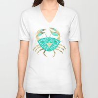 crab V-neck T-shirts featuring Crab – Turquoise & Gold by Cat Coquillette