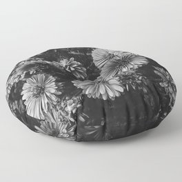 FLOWERS - FLORAL - BLACK AND WHITE Floor Pillow