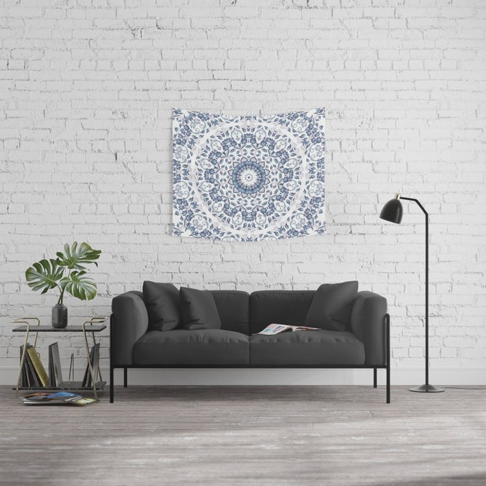 Grayish Blue White Flowers Mandala Wall Tapestry
