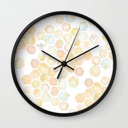 Bee and honeycomb watercolor Wall Clock