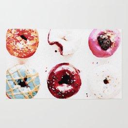 watercolor doughnuts Rug