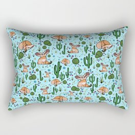 Fennec Foxes in Blue Rectangular Pillow