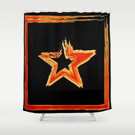 Fire star in red and blue color on a black background. Shower Curtain