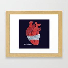 Still here on blue Framed Art Print
