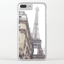 Paris streets, Eiffel tower, city skyline, industrial fine art photo, shabby chic Clear iPhone Case