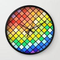 pantone Wall Clocks featuring Geo-Pantone by Aries Art