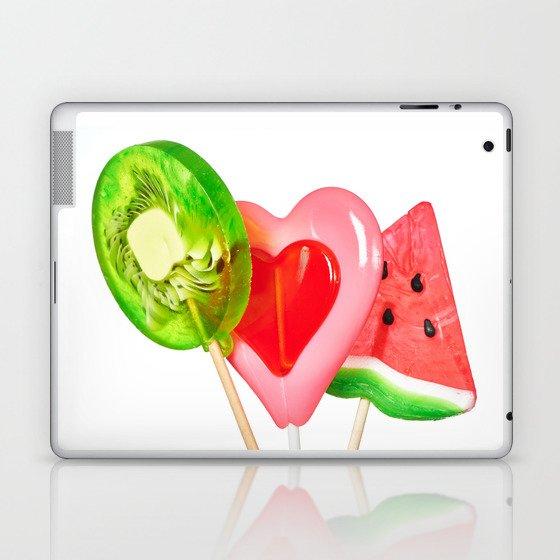 Lollipop in form of heart, watermelon and kiwi Laptop & iPad Skin