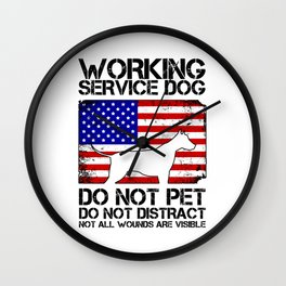 PTSD Awareness Service Dog Remember Everyone Served Wall Clock