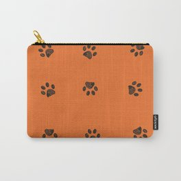 Black doodle paw prints with orange background Carry-All Pouch