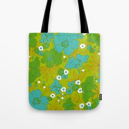 Green, Turquoise, and White Retro Flower Design Pattern Tote Bag