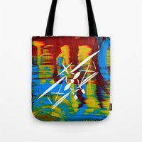 airplane Tote Bags featuring Airplane by Lue Brentwood