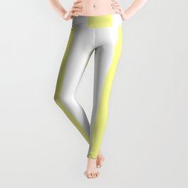 Pastel yellow - solid color - white vertical lines pattern Leggings