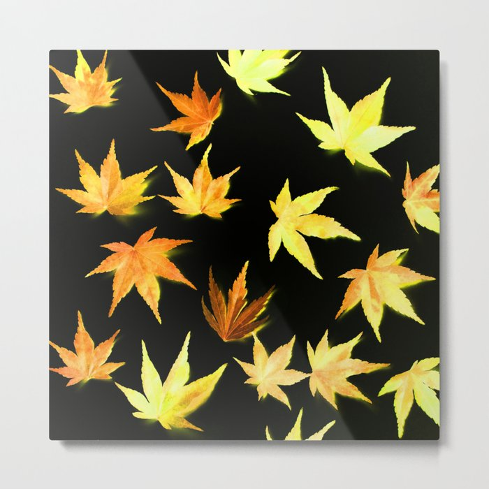 AUTUMN ROMANCE - LEAVES PATTERN #4 #decor #art #society6 Metal Print