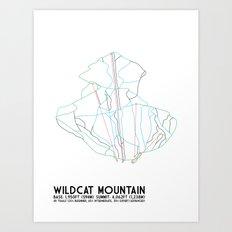 Wildcat Mountain, NH - Minimalist Trail Art Art Print
