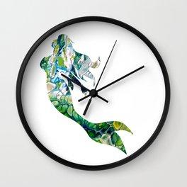 Green Fluid Acrylic Mermaid - Fantasy Abstract Art Wall Clock