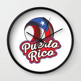 Puerto Rico Baseball   Proud Boricua Flag Wall Clock