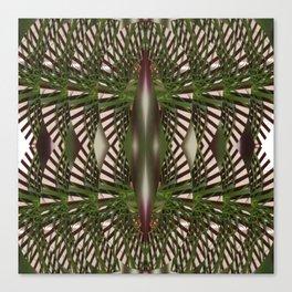 Tropical Romance on Green,White,Burgundy,Brown Canvas Print