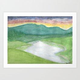 Many Hills, Wow Green Art Print