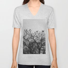 A murder of crows sitting in a tree Unisex V-Neck