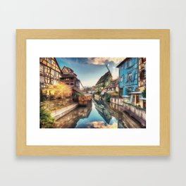Colmar the Little Venice painting, French village Lauch river scenery, France nature, travel art pos Framed Art Print