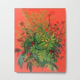 Autumn Floral, Orange an Green Metal Print