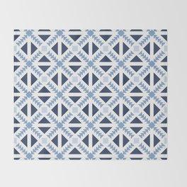 Geo Stamp Blue Throw Blanket