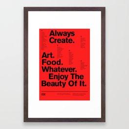 Always Create — Grid Series 01 (Red) Framed Art Print