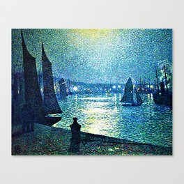 Classical Masterpiece 'Moonlight Night in Boulogne, Italy' by Theo van Rysselberghe Canvas Print