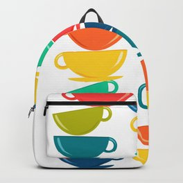 A Teetering Tower Of Colorful Tea Cups Backpack