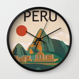 Peru travel poster Wall Clock