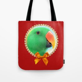 Green male eclectus parrot realistic painting Tote Bag