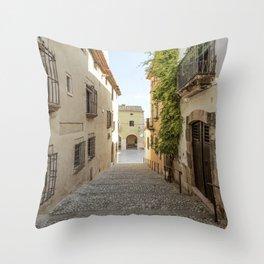 Spanish Street in Altafulla Throw Pillow