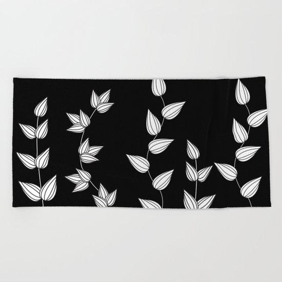 Black and White Garden Beach Towel