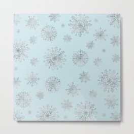 Assorted Silver Snowflakes On Light Blue Background Metal Print
