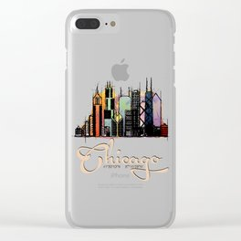 Colorful Skyline Chicago GPS coordinates Clear iPhone Case