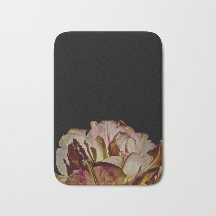 Bright Pink Tulip On Black Bath Mat