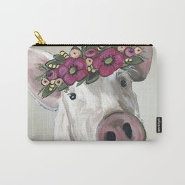 Cute Pig Painting, Farm Animal Art Carry-All Pouch