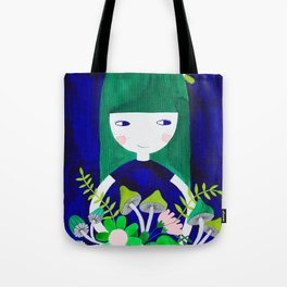 green hair girl in blue with floral illustration watercolor Tote Bag