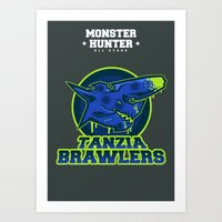monster hunter Art Prints featuring Monster Hunter All Stars - The Tanzia Brawlers by Bleached ink