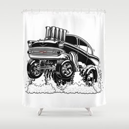 57 Gasser REV-3 BLACK Shower Curtain