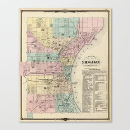 Vintage Map of Milwaukee Wisconsin (1878) Canvas Print