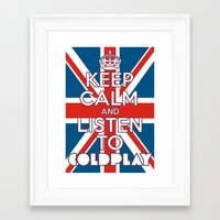 "coldplay Framed Art Prints featuring ""Keep Calm and Listen to Coldplay""-Union Jack by Fabfari"