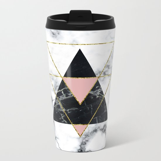 Geo glam marble Metal Travel Mug
