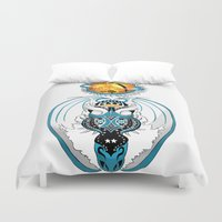 skyfall Duvet Covers featuring Cosmic Skyfall Dragon by Pr0l0gue