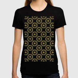 Gold and Silver Polka Dot Mandala Rings Pattern T-shirt