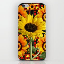 SOUTHWESTERN  BLACK COLOR YELLOW SUNFLOWERS ART iPhone Skin